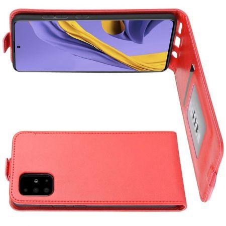 Вертикальный флип чехол книжка с откидыванием вниз для Samsung Galaxy A51 - Красный