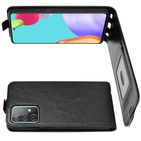 Вертикальный флип чехол книжка с откидыванием вниз для Samsung Galaxy A52 - Черный