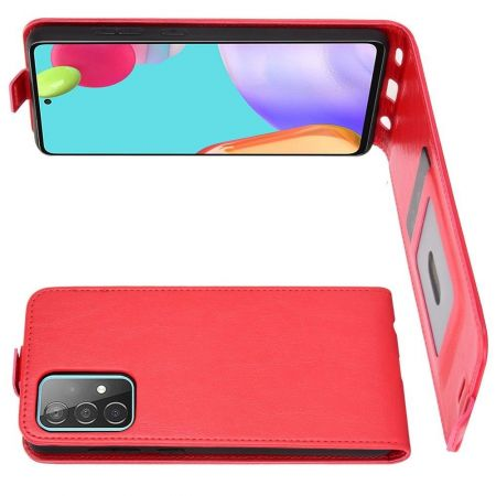 Вертикальный флип чехол книжка с откидыванием вниз для Samsung Galaxy A52 - Красный