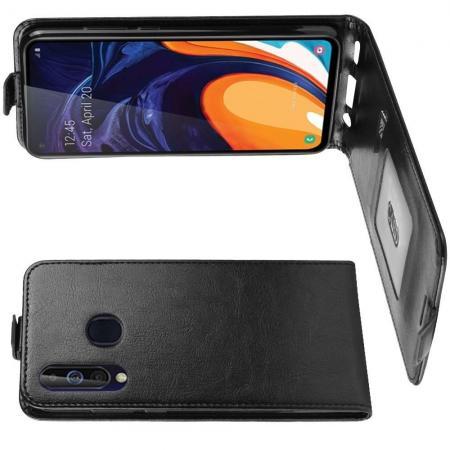 Вертикальный флип чехол книжка с откидыванием вниз для Samsung Galaxy A60 - Черный