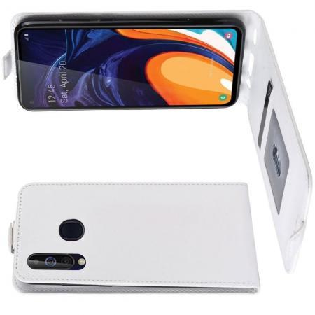 Вертикальный флип чехол книжка с откидыванием вниз для Samsung Galaxy A60 - Белый