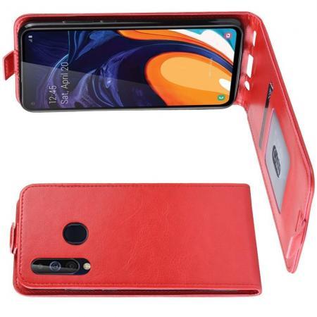 Вертикальный флип чехол книжка с откидыванием вниз для Samsung Galaxy A60 - Красный
