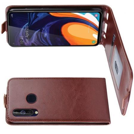 Вертикальный флип чехол книжка с откидыванием вниз для Samsung Galaxy A60 - Коричневый