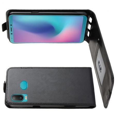 Вертикальный флип чехол книжка с откидыванием вниз для Samsung Galaxy A6s - Черный