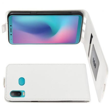 Вертикальный флип чехол книжка с откидыванием вниз для Samsung Galaxy A6s - Белый