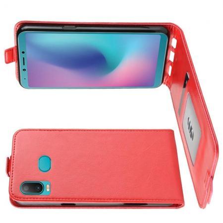 Вертикальный флип чехол книжка с откидыванием вниз для Samsung Galaxy A6s - Красный