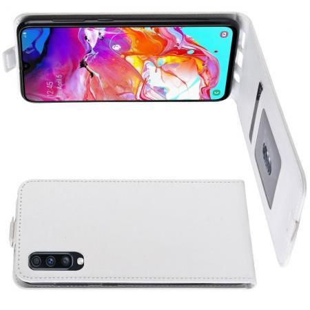Вертикальный флип чехол книжка с откидыванием вниз для Samsung Galaxy A70 - Белый