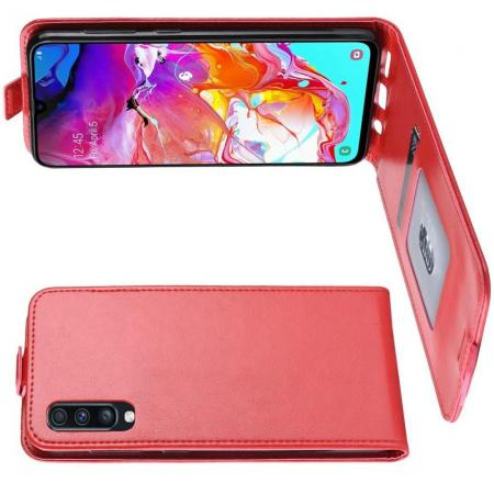 Вертикальный флип чехол книжка с откидыванием вниз для Samsung Galaxy A70 - Красный