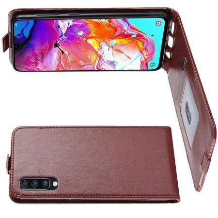 Вертикальный флип чехол книжка с откидыванием вниз для Samsung Galaxy A70 - Коричневый