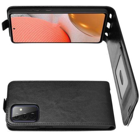 Вертикальный флип чехол книжка с откидыванием вниз для Samsung Galaxy A72 - Черный
