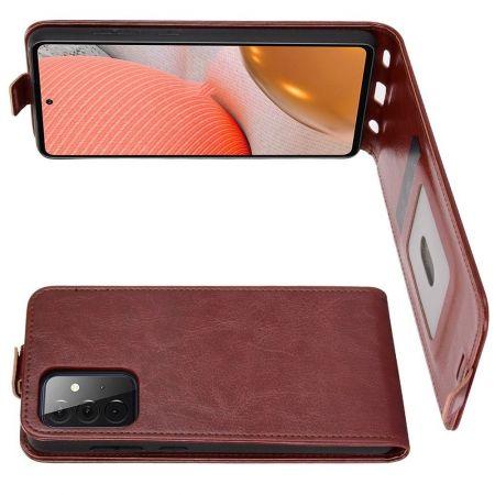 Вертикальный флип чехол книжка с откидыванием вниз для Samsung Galaxy A72 - Коричневый