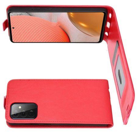 Вертикальный флип чехол книжка с откидыванием вниз для Samsung Galaxy A72 - Красный