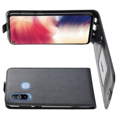 Вертикальный флип чехол книжка с откидыванием вниз для Samsung Galaxy A8s - Черный