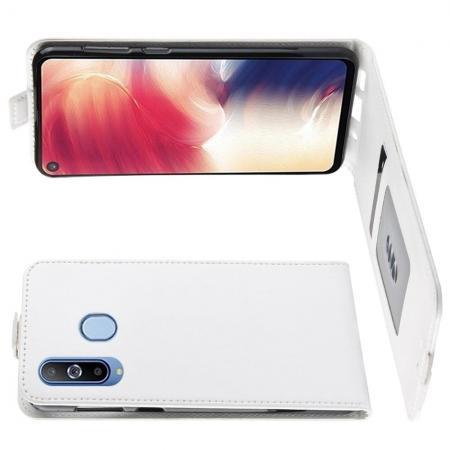 Вертикальный флип чехол книжка с откидыванием вниз для Samsung Galaxy A8s - Белый