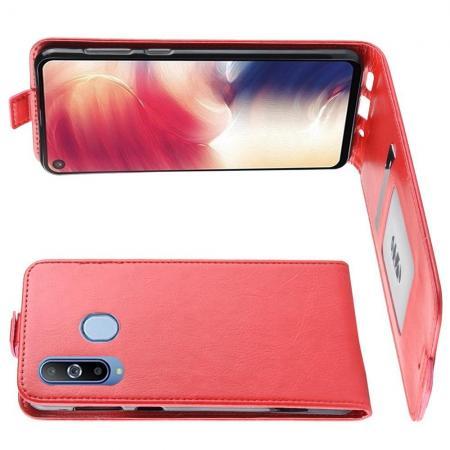 Вертикальный флип чехол книжка с откидыванием вниз для Samsung Galaxy A8s - Красный