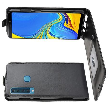 Вертикальный флип чехол книжка с откидыванием вниз для Samsung Galaxy A9 2018 SM-A920F - Черный