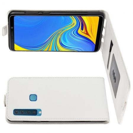 Вертикальный флип чехол книжка с откидыванием вниз для Samsung Galaxy A9 2018 SM-A920F - Белый