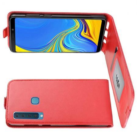 Вертикальный флип чехол книжка с откидыванием вниз для Samsung Galaxy A9 2018 SM-A920F - Красный