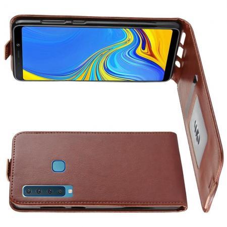Вертикальный флип чехол книжка с откидыванием вниз для Samsung Galaxy A9 2018 SM-A920F - Коричневый