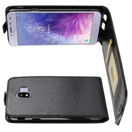 Вертикальный флип чехол книжка с откидыванием вниз для Samsung Galaxy J4 2018 SM-J400 - Черный