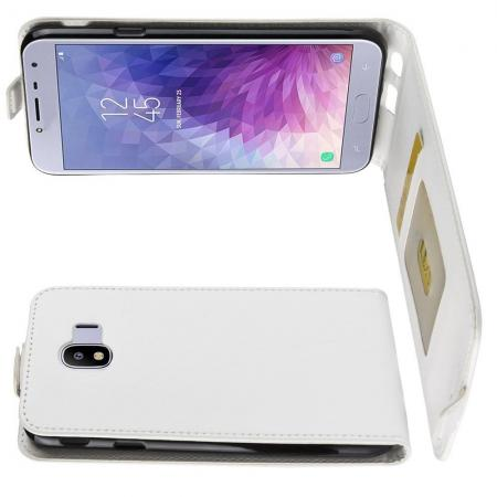 Вертикальный флип чехол книжка с откидыванием вниз для Samsung Galaxy J4 2018 SM-J400 - Белый