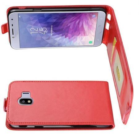 Вертикальный флип чехол книжка с откидыванием вниз для Samsung Galaxy J4 2018 SM-J400 - Красный