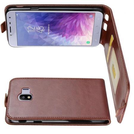 Вертикальный флип чехол книжка с откидыванием вниз для Samsung Galaxy J4 2018 SM-J400 - Коричневый