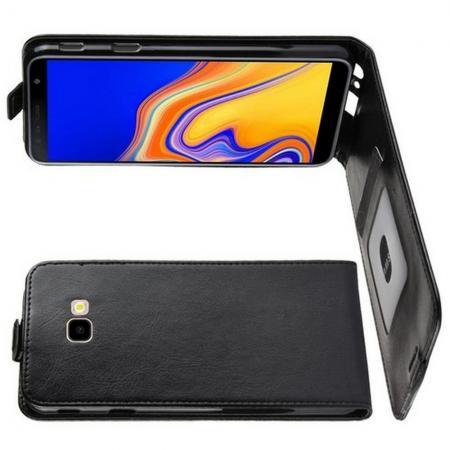 Вертикальный флип чехол книжка с откидыванием вниз для Samsung Galaxy J4 Plus SM-J415 - Черный
