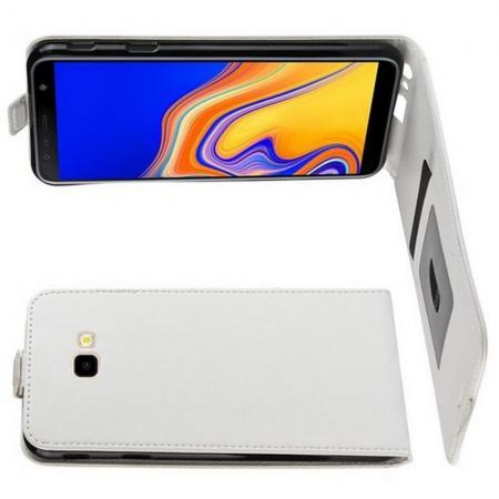 Вертикальный флип чехол книжка с откидыванием вниз для Samsung Galaxy J4 Plus SM-J415 - Белый