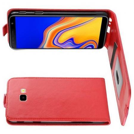 Вертикальный флип чехол книжка с откидыванием вниз для Samsung Galaxy J4 Plus SM-J415 - Красный