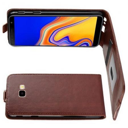 Вертикальный флип чехол книжка с откидыванием вниз для Samsung Galaxy J4 Plus SM-J415 - Коричневый