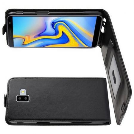 Вертикальный флип чехол книжка с откидыванием вниз для Samsung Galaxy J6 Plus 2018 SM-J610F - Черный