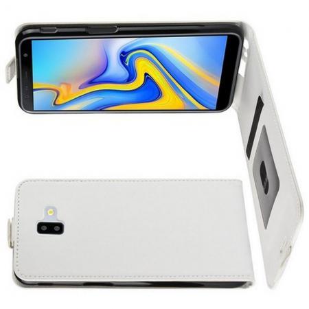 Вертикальный флип чехол книжка с откидыванием вниз для Samsung Galaxy J6 Plus 2018 SM-J610F - Белый