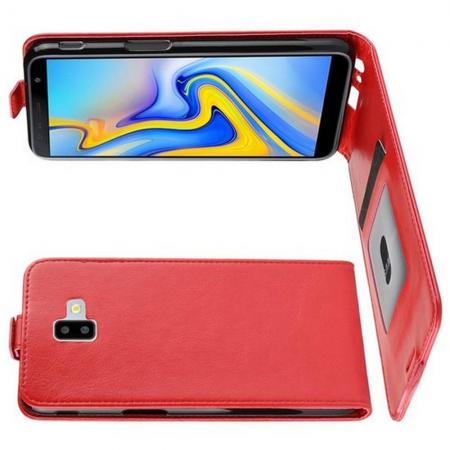 Вертикальный флип чехол книжка с откидыванием вниз для Samsung Galaxy J6 Plus 2018 SM-J610F - Красный