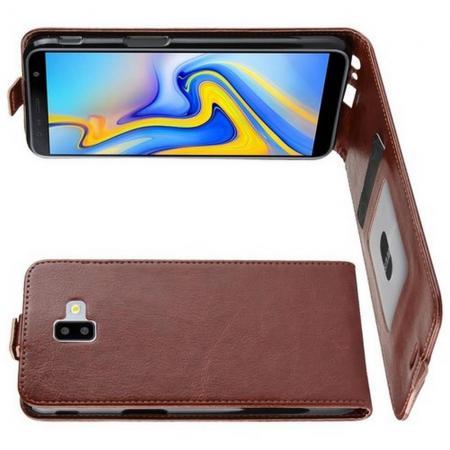 Вертикальный флип чехол книжка с откидыванием вниз для Samsung Galaxy J6 Plus 2018 SM-J610F - Коричневый