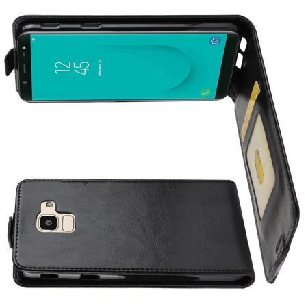 Вертикальный флип чехол книжка с откидыванием вниз для Samsung Galaxy J6 SM-J600 - Черный