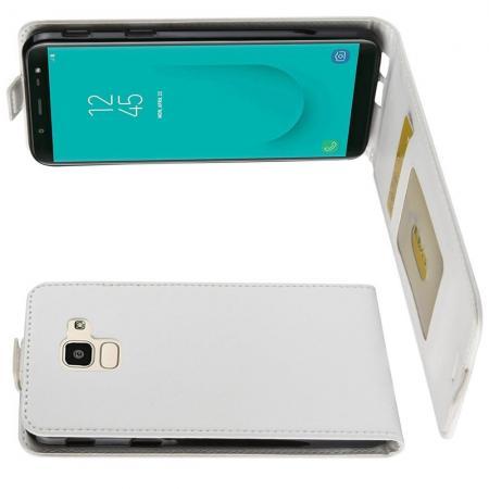 Вертикальный флип чехол книжка с откидыванием вниз для Samsung Galaxy J6 SM-J600 - Белый