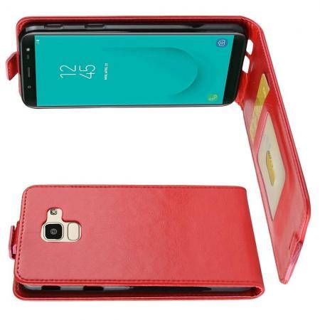 Вертикальный флип чехол книжка с откидыванием вниз для Samsung Galaxy J6 SM-J600 - Красный