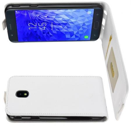 Вертикальный флип чехол книжка с откидыванием вниз для Samsung Galaxy J7 2018 - Белый