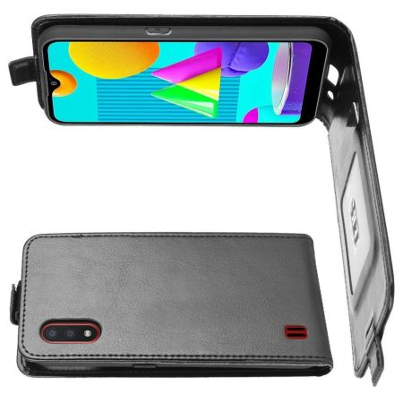 Вертикальный флип чехол книжка с откидыванием вниз для Samsung Galaxy M01 - Черный