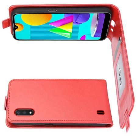 Вертикальный флип чехол книжка с откидыванием вниз для Samsung Galaxy M01 - Красный