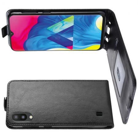 Вертикальный флип чехол книжка с откидыванием вниз для Samsung Galaxy M10 - Черный