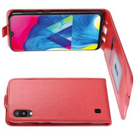 Вертикальный флип чехол книжка с откидыванием вниз для Samsung Galaxy M10 - Красный