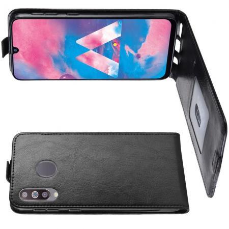 Вертикальный флип чехол книжка с откидыванием вниз для Samsung Galaxy M30 - Черный
