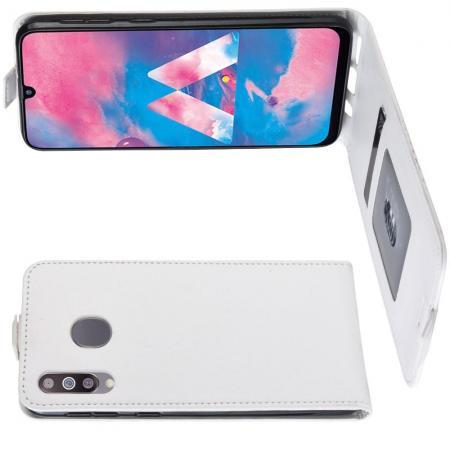 Вертикальный флип чехол книжка с откидыванием вниз для Samsung Galaxy M30 - Белый