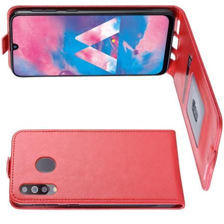 Вертикальный флип чехол книжка с откидыванием вниз для Samsung Galaxy M30 - Красный