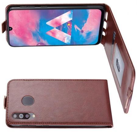 Вертикальный флип чехол книжка с откидыванием вниз для Samsung Galaxy M30 - Коричневый
