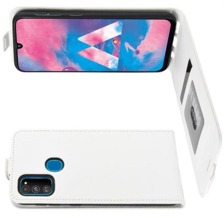 Вертикальный флип чехол книжка с откидыванием вниз для Samsung Galaxy M30s - Белый