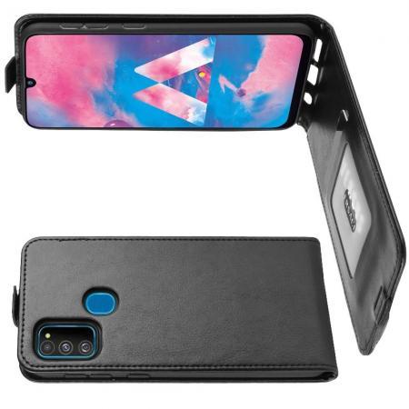 Вертикальный флип чехол книжка с откидыванием вниз для Samsung Galaxy M30s - Черный