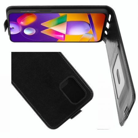 Вертикальный флип чехол книжка с откидыванием вниз для Samsung Galaxy M31s - Черный